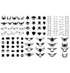 Set of empty emblems ribbons winged emblems vector