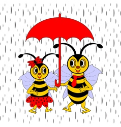 A couple of funny cartoon bees under red umbrella vector