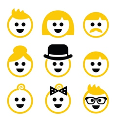People with blond hair icons set vector