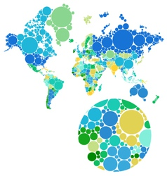 Dot world map with countries vector