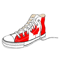 Hand draw modern sport shoes with canada flag vector
