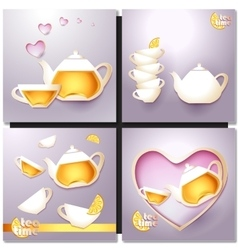 A cup of tea and a pot vector