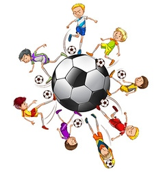 Soccer players around a ball vector