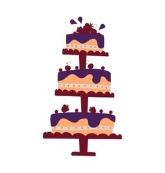 Chocolate cream birthday cake topped pie isolated vector