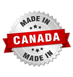 made in Canada silver badge with red ribbon vector image