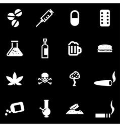 White drugs icon set vector