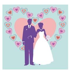 silhouette of wedding couple vector image