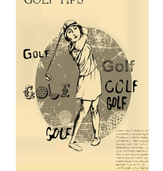 Abstract background golfing woman old newspaper vector image vector image
