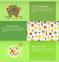 Banners with fruits and vegetables vector