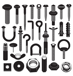 Basic Screws and Nuts Collection vector image vector image