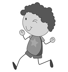 Boy with curly hair running vector image vector image