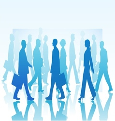Business people in silhouette walking in different vector