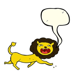 cartoon lion with speech bubble vector image