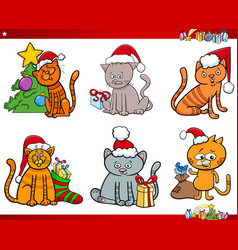 cat characters on christmas cartoon set vector image vector image