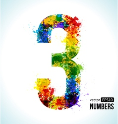 Color paint splashes Gradient Number 3 vector image vector image