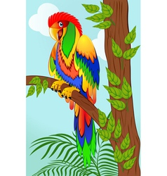colorful parrot on tree vector image