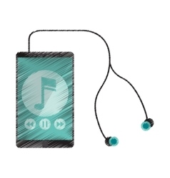 Drawing smartphone music note earphones digital vector