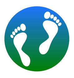 Foot prints sign white icon in bluish vector