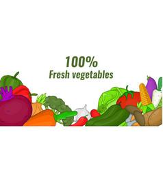 Fresh vegetables banner horizontal cartoon style vector