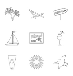Holiday in miami icons set outline style vector