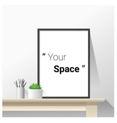Interior poster mock up with empty frame vector