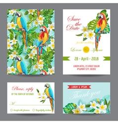 Invitation or greeting card set - tropical birds vector