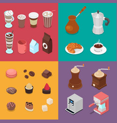 isometric cafe elements set with candies coffee vector image vector image