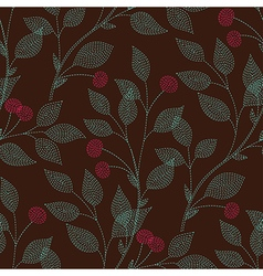 leaves needlework cherry vector image vector image