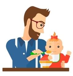Man feeding baby vector