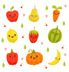 Mascot design of cartoon fruits and vector