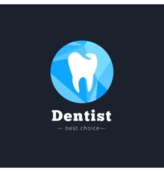 Modern polygonal dental clinic logo vector