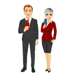 news reporters holding the microphones vector image
