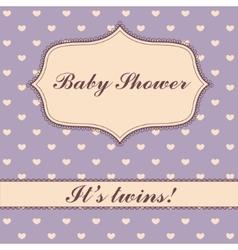 Polka dot hearts baby shower twins vector image vector image