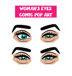 Pop art cartoon comic sexy sly woman eyes vector
