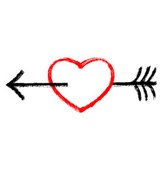 Red heart pierced black arrow vector