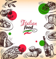 Restaurant Italian cuisine menu design Hand drawn vector image