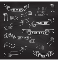 Set of retro ribbons on chalkboard background vector image