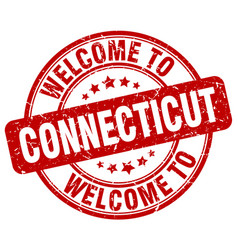 Welcome to connecticut red round vintage stamp vector