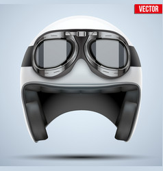 White motorcycle classic helmet with goggles vector