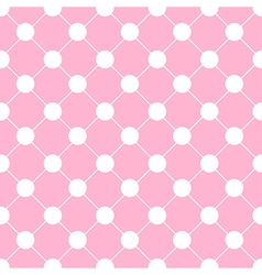 White Polka dot Chess Board Grid Pink vector image
