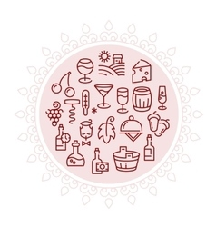 Wine logo with linear icons in circle vector image