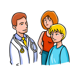 With doctor and patients vector