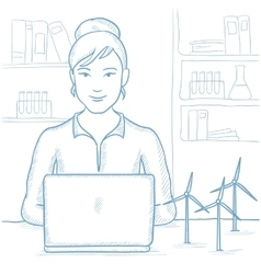 Woman working with model wind turbines on table vector
