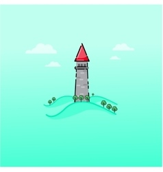 Cartoon fairy tale castle outline vector