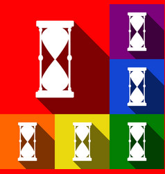 Hourglass sign   set of icons vector
