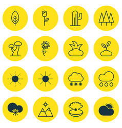 Set of 16 nature icons includes sun plant cold vector