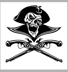 Piracy skull and crossed pistols vector