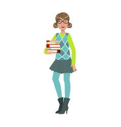 smiling young student girl holding stack of books vector image