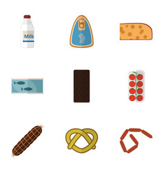 Flat icon eating set of cookie confection smoked vector
