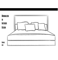 Double bed with pillows in a contour on a white vector
